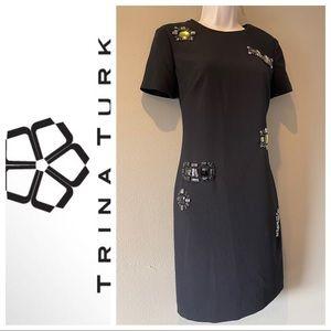 Trina Turk Shirt Sleeved jeweled dress, size 0